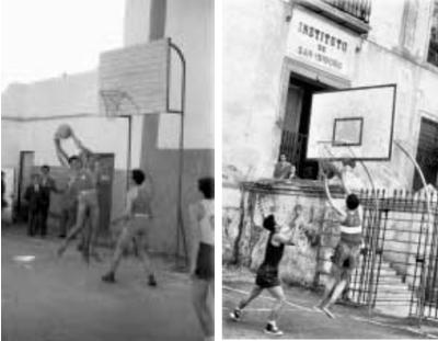 (Izq.)  Una de las primeras imágenes de un partido de baloncesto en Sevilla, en un cine de verano. (Dcha.) Un partido en el Instituto San Isidoro / Foto: Libro '75 años de baloncesto andaluz'