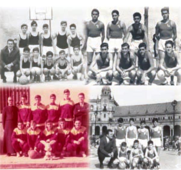 Diversos equipos del Colegio Hermanos Maristas, denominados San Fernando y, más tarde, Ademar / Foto: Libro '75 años de historia del baloncesto andaluz'